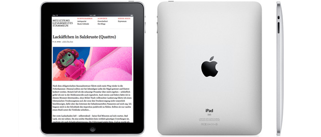Mellcolm.de auf dem Apple iPad